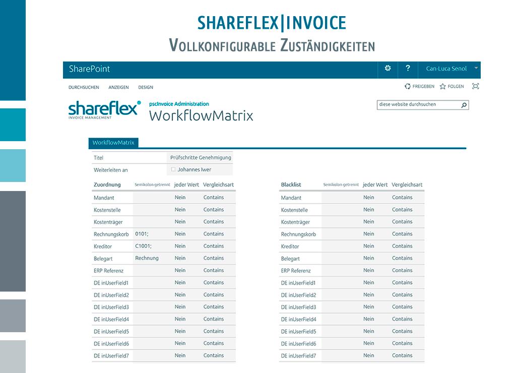 Screenshot Shareflex Eingangsrechnungsverarbeitung Zuständigkeiten