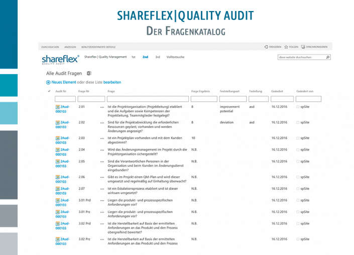 Screenshot Shareflex Auditmanagement Fragenkatalog