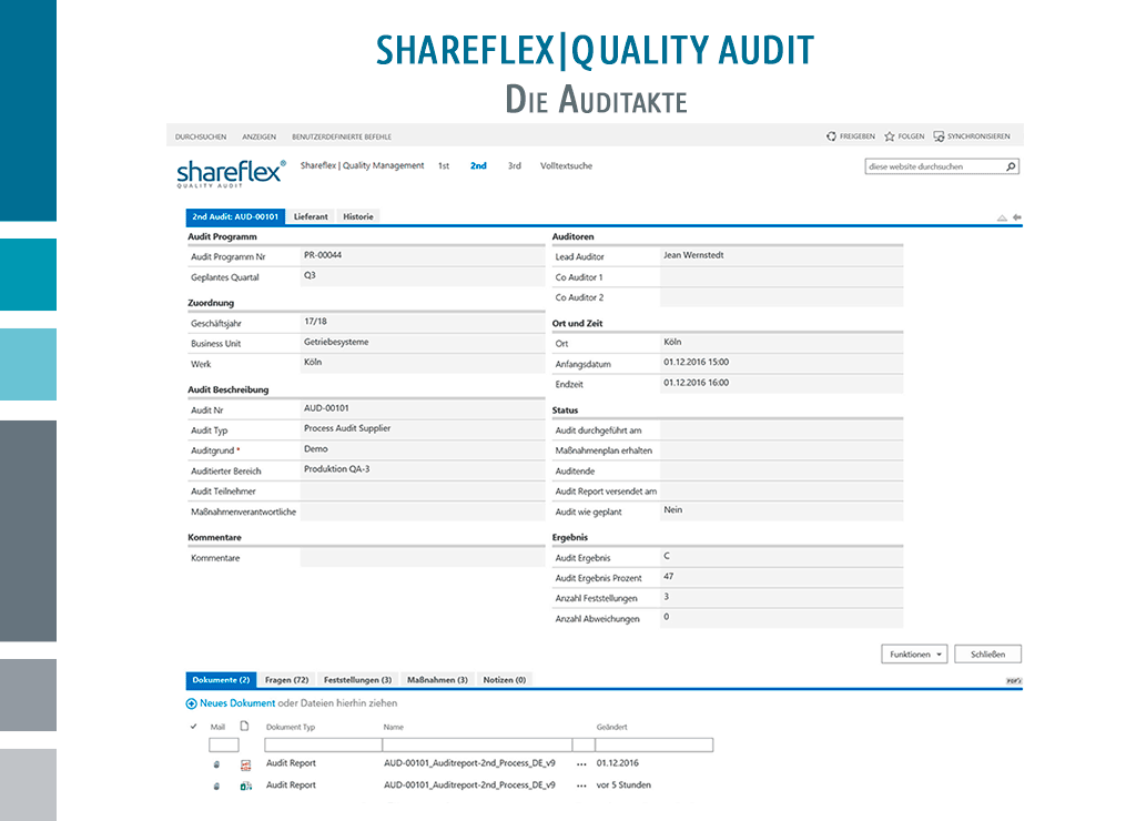Screenshot Shareflex Auditmanagement Auditakte