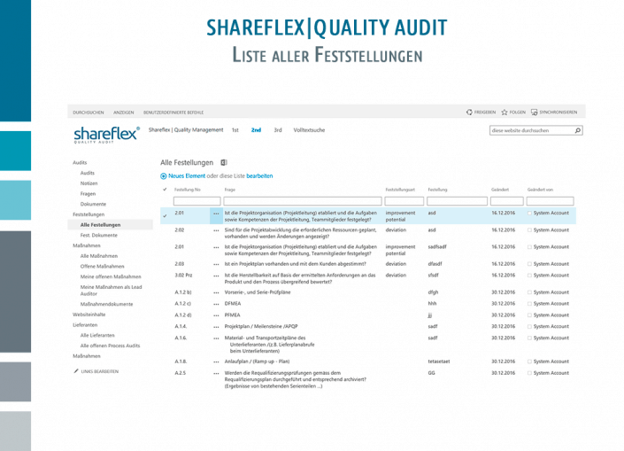 Screenshot Shareflex Auditmanagement Liste aller Feststellungen