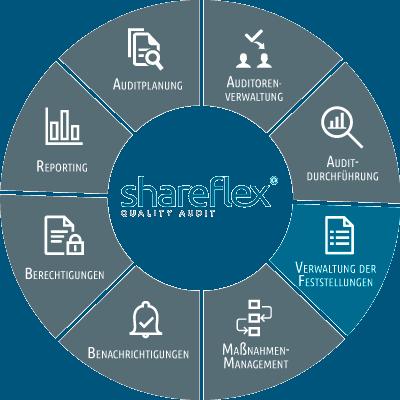 Abbildung Shareflex Quality Audit Verwaltung der Feststellungen