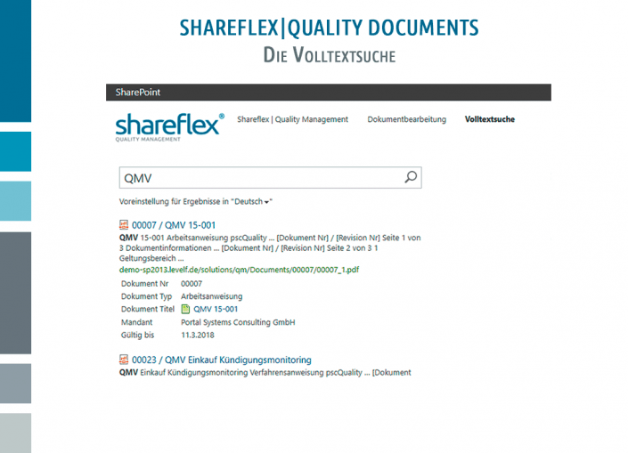 Screenshot Shareflex Quality Documents Volltextsuche