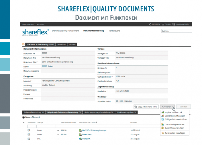 Screenshot Shareflex Quality Documents Dokument mit Funktionen