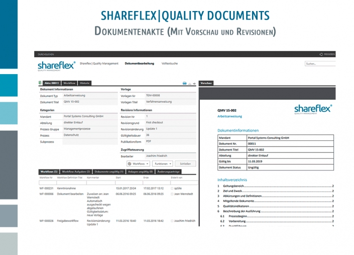 Screenshot Shareflex Quality Documents Dokumentenakte