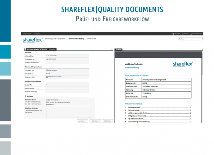 Screenshot Shareflex Quality Documents Prüf- und Freigabeworkflow