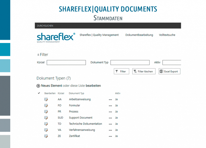 Screenshot Shareflex Quality Documents Stammdaten