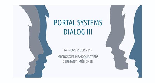 Ankündigung des Portal Systems Dialog 2019 in München