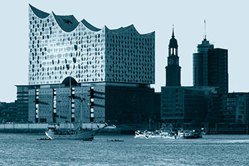 Hamburg harbour skyline including Elbphilharmonie concert hall and the Michel
