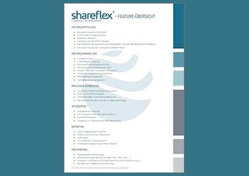 Hier können Sie eine Übersicht der Funktionalitäten der Vertragsmanagement Software Shareflex Contract herunterladen.