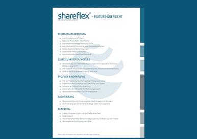 Hier können Sie die Übersicht der Funktionalitäten der Rechnungsverarbeitungs-Software Shareflex Invoice herunterladen.