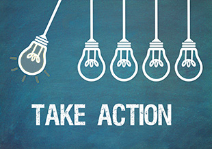 Five light bulbs and the words Take Action