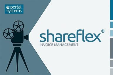 Ein Projektor symbolisiert den Shareflex Invoice Webcast.