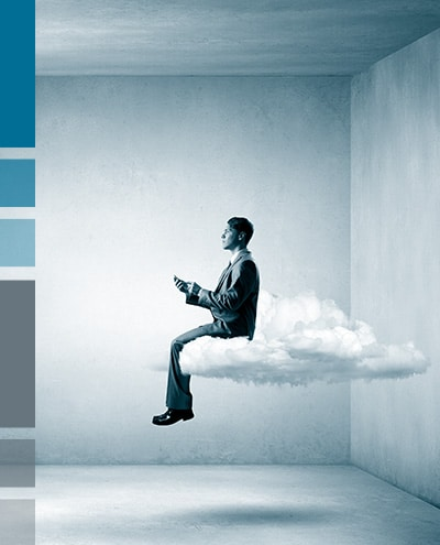 man holding mobile phone sitting on cloud
