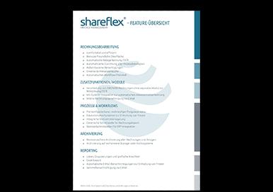 Übersicht der Funktionalitäten der Software für Rechnungsverarbeitung Shareflex Invoice