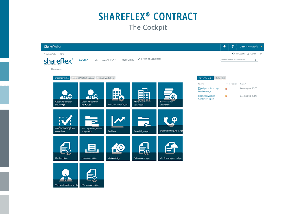 Screenshot of the cockpit of contract management software Shareflex Contract