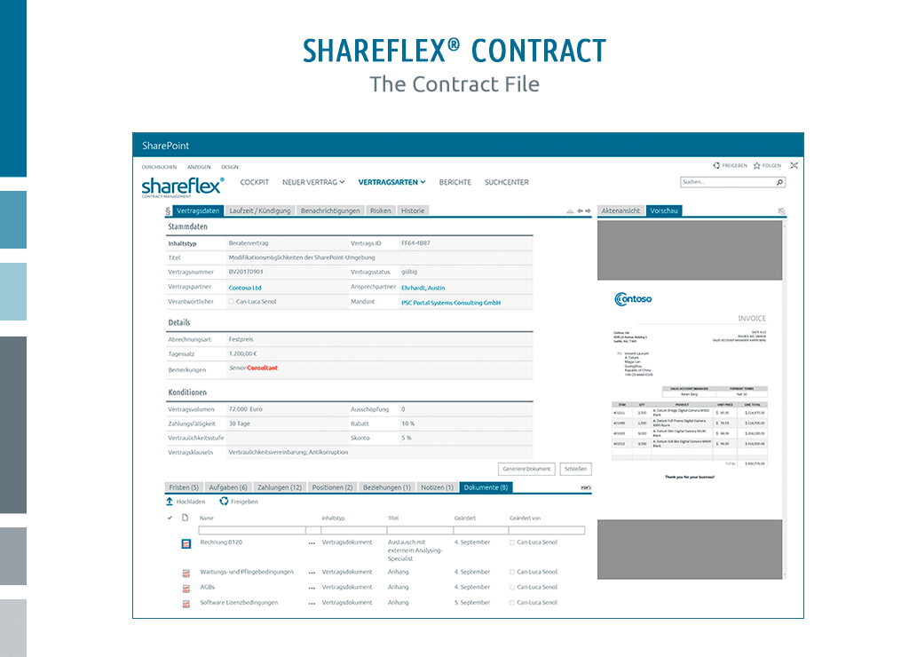 Screenshot of the contract file in Shareflex Contract