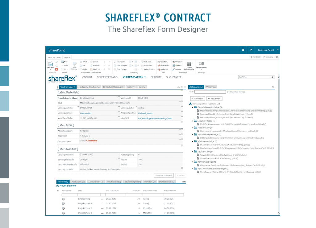 Screenshot of the form designer in Shareflex Contract