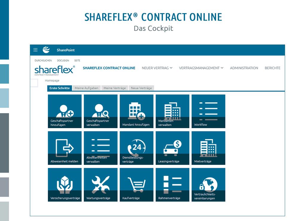screenshot cockpit shareflex vertragsmanagement software cloud