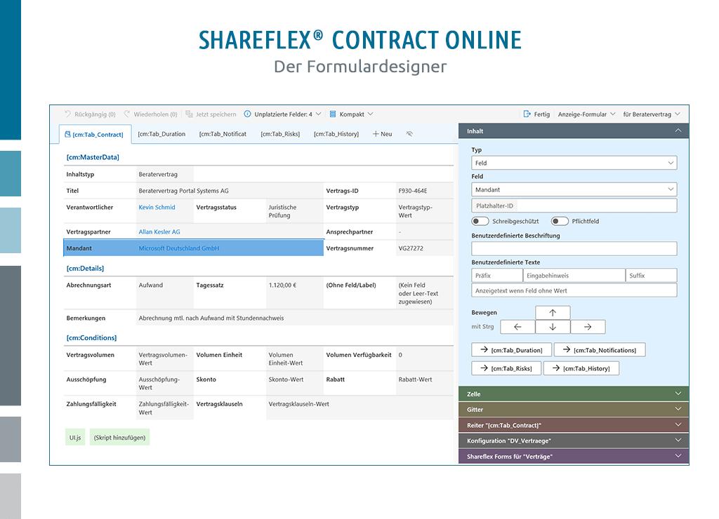 abbildung shareflex designer zur formulargestaltung vertragsmanagement