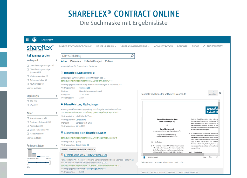 ergebnisliste einer intelligenten suche in shareflex contract online