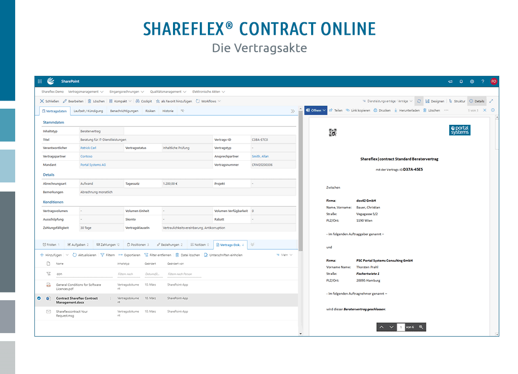 screenshot benutzeroberfläche vertragsakte vertragsmanagement cloud shareflex contract online