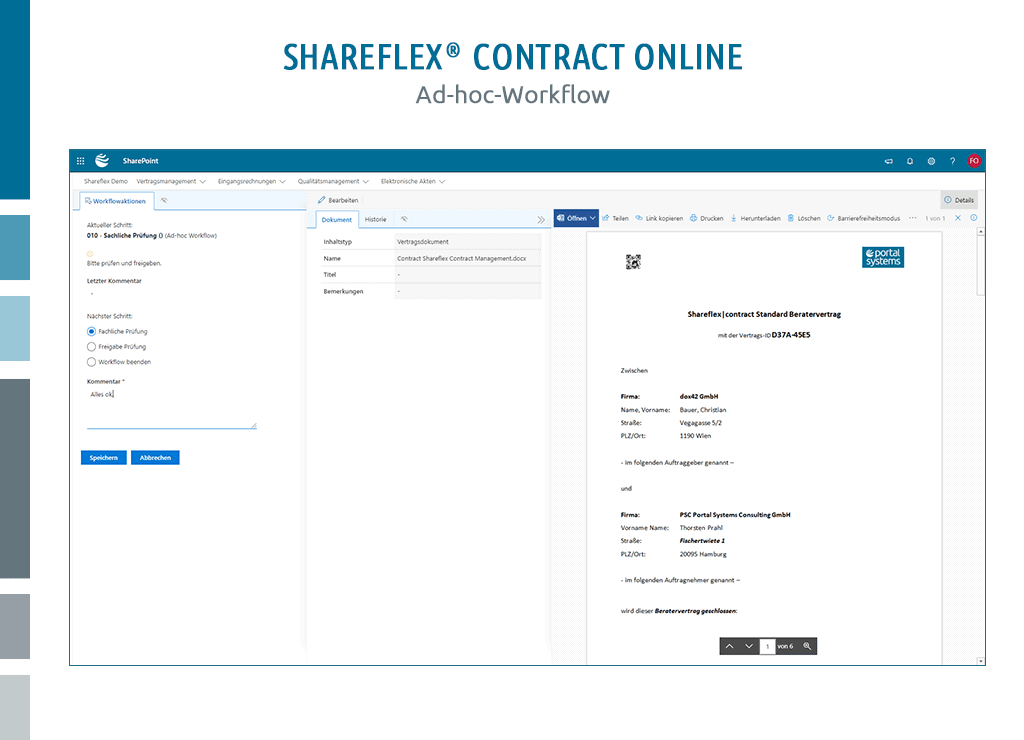 darstellung ad-hoc-workflow shareflex contract online