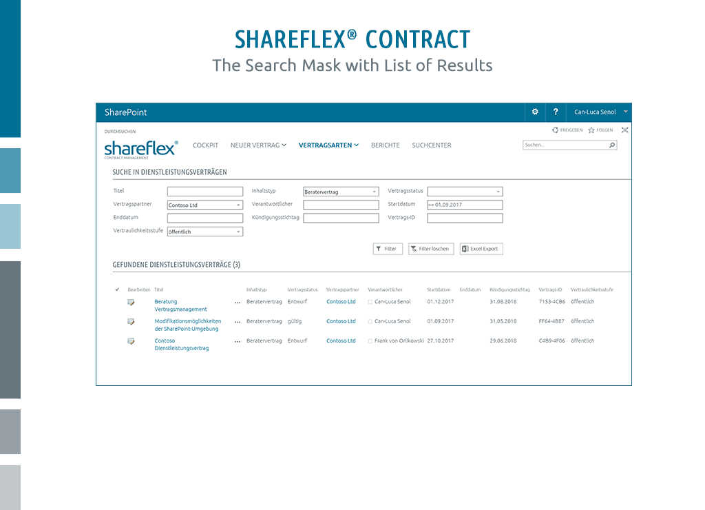 Screenshot of the search mask in Shareflex Contract