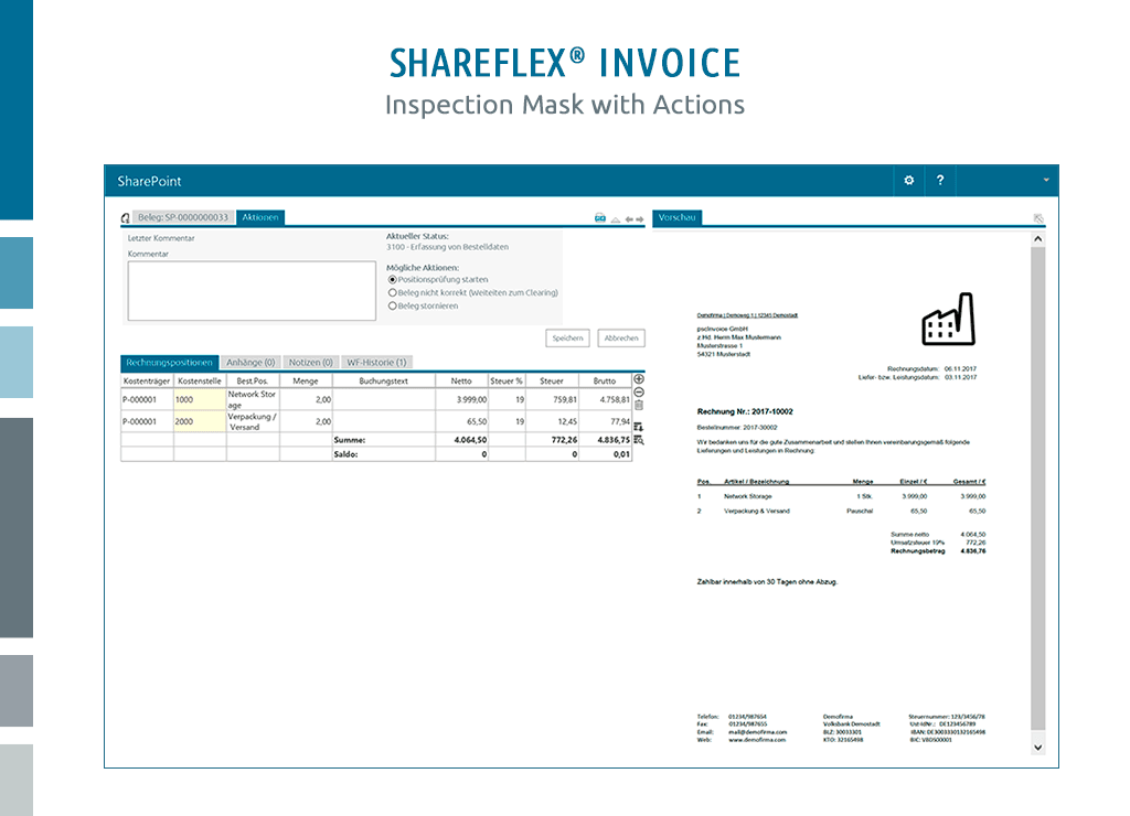 Screenshot of the inspection mask with actions in Shareflex Invoice Management