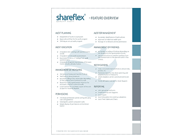 features of shareflex quality audit management software