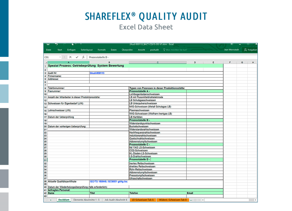 excel data sheet for shareflex quality audit