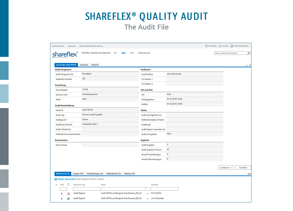 Screenshot of the audit file in audit management tool Shareflex Quality Audit