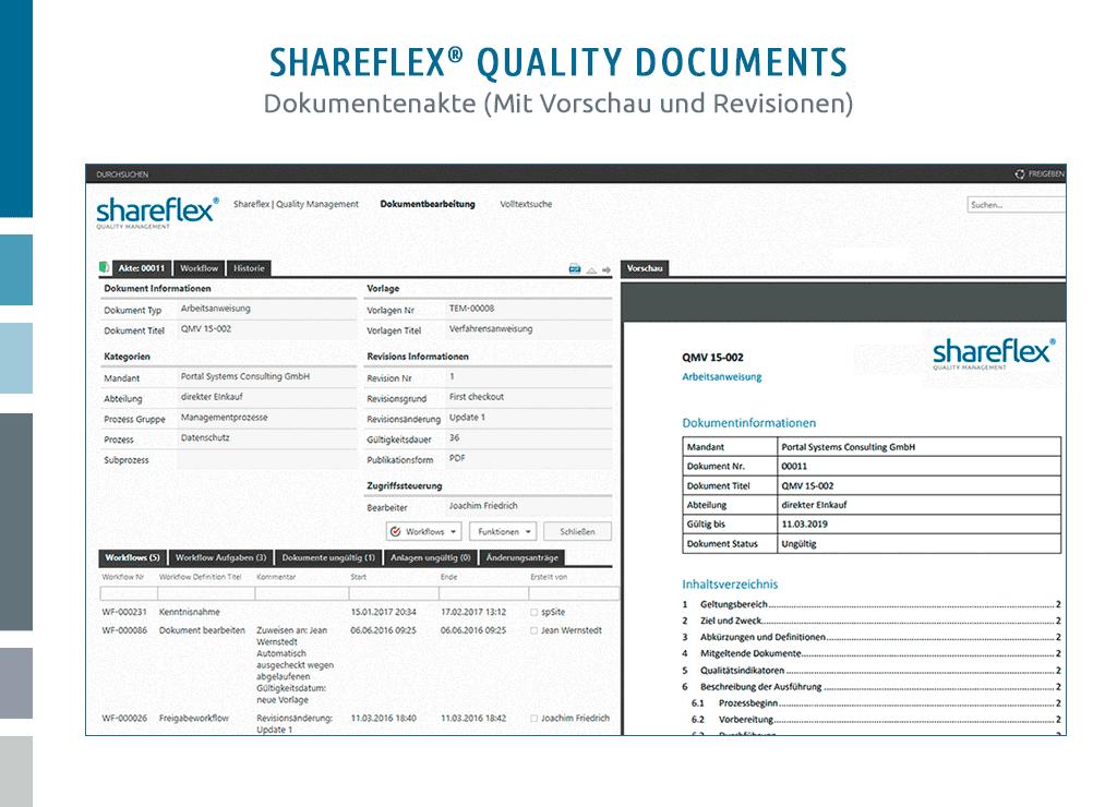 screenshot dokumentenakte shareflex quality documents dokumentenlenkung software