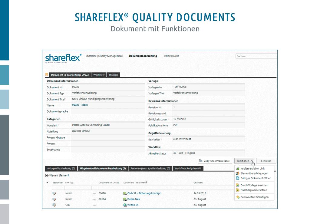 screenshot qm dokumentenmanagement sharepoint mit funktionen