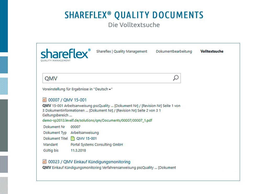screenshot dokumentenlenkung software shareflex quality documents volltextsuche
