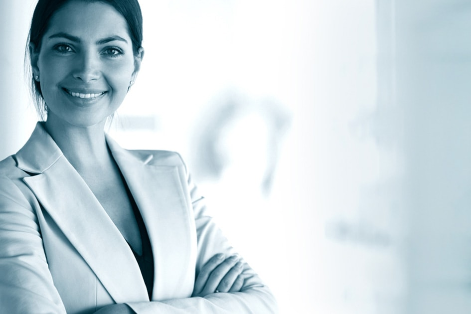 smiling business woman symbol portal systems ag