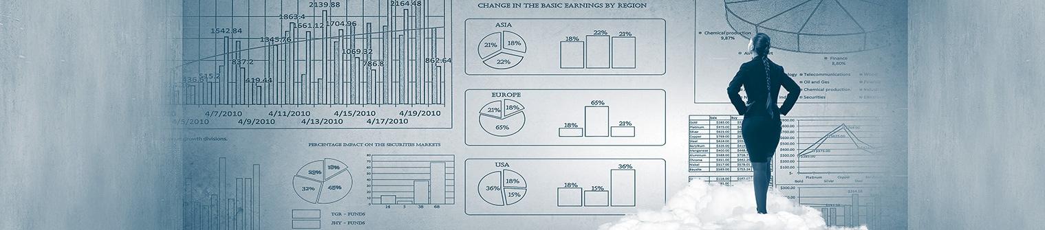 geschäftsfrau mit infografiken symbolbild ecm online