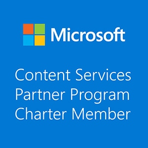 logo blue microsoft content services partner program charter member portal systems ag