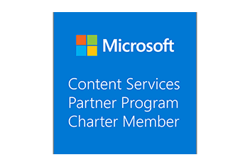logo blue transparent microsoft content services partner program charter member portal systems ag