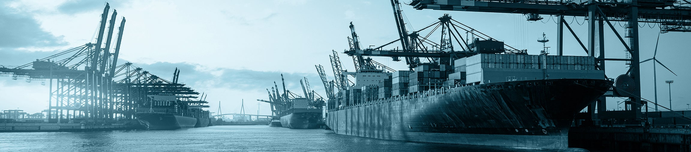 Port of Hamburg with Köhlbrand Bridge and container ships as a symbol for the Feddersen Group's overseas trade