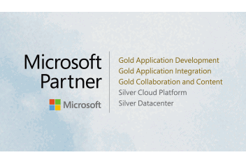 Logo with Microsoft partner competencies of Portal Systems AG and clouds in the background
