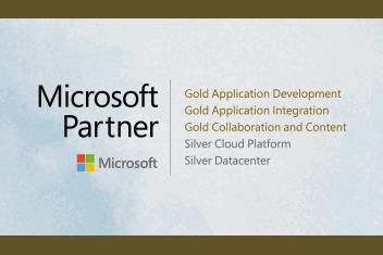 Logo mit Microsoft Partnerkompetenzen der Portal Systems AG und Wolken im Hintergrund