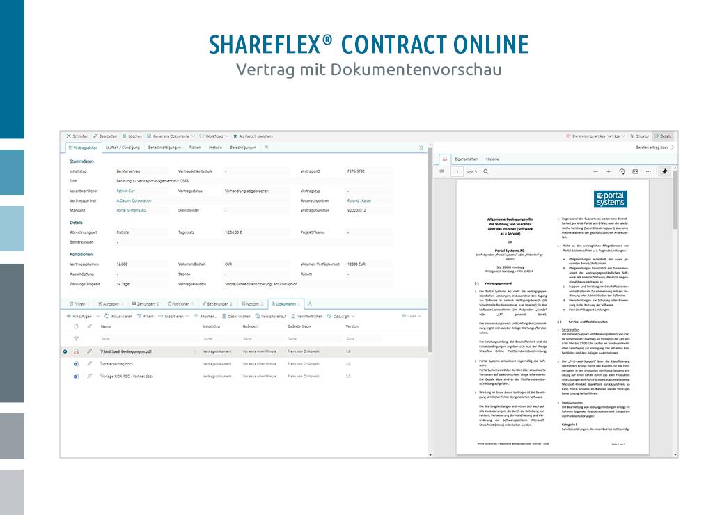 Die Benutzeroberfläche der Vertragsakte mit Dokumentenvorschau im Online-Vertragsmanagement Shareflex Contract Online