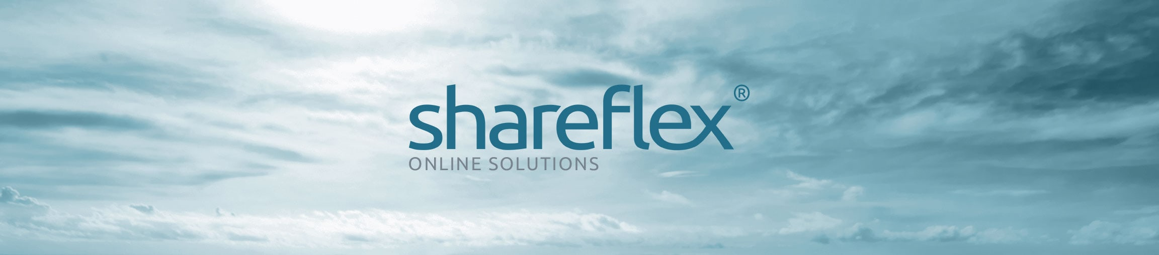 Sunny sky with clouds and the Shareflex Online logo