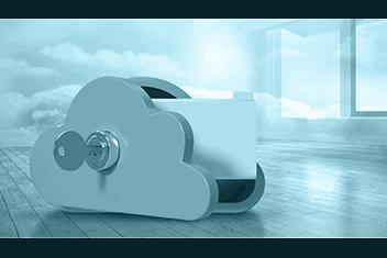 Zusammengesetztes Bild von Schließfach in Wolkenform mit 3D-Ordner als Symbolbild für die revisionssichere Archivierung mit SharePoint