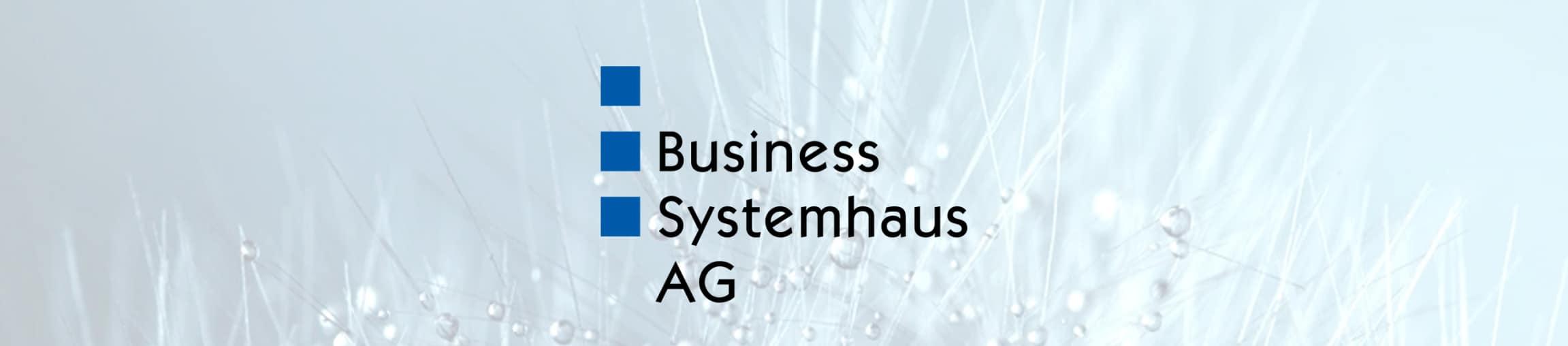 Logo der Business Systemhaus AG vor Wiese mit Tautropfen