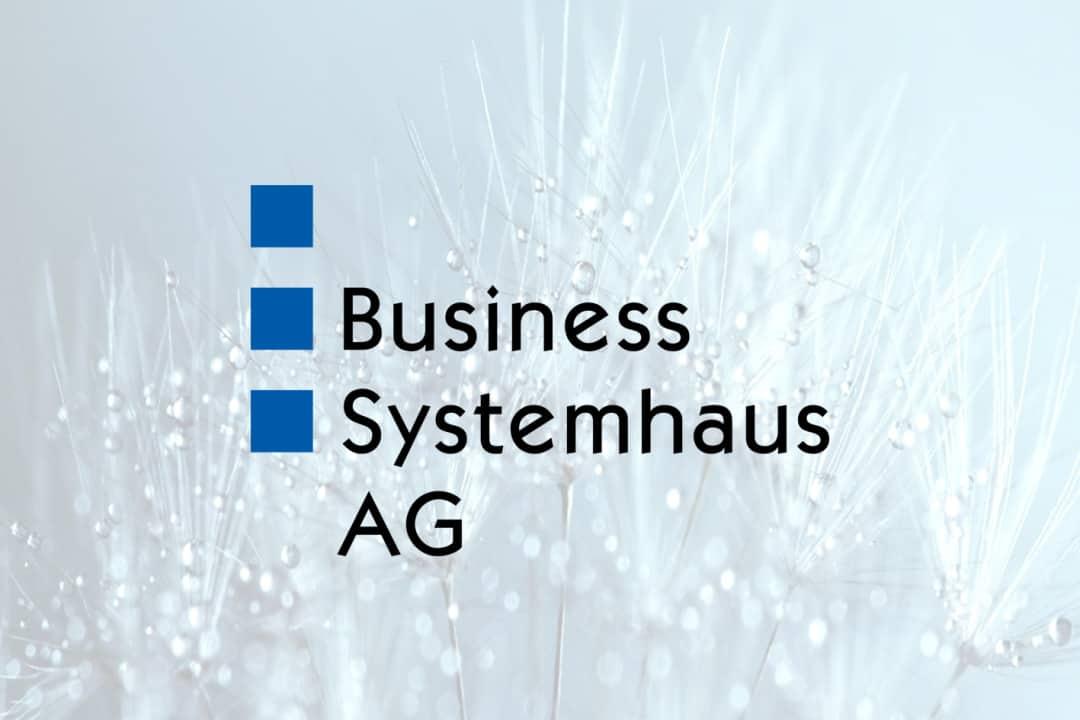 Logo der Business Systemhaus AG vor Gräsern mit Tautropfen