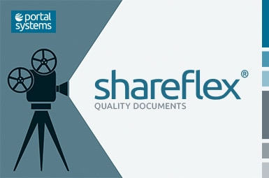 Film projector and logo of Shareflex Quality Documents