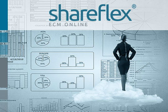 Geschäftsfrau auf einer Wolke betrachtet Business-Daten aus dem Cloud-ECM oder Dokumentenmanagement-System.