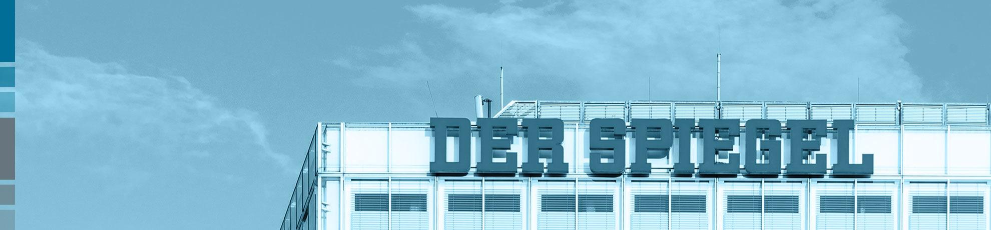 Der Spiegel banner on headquarter of the company in Hamburg.