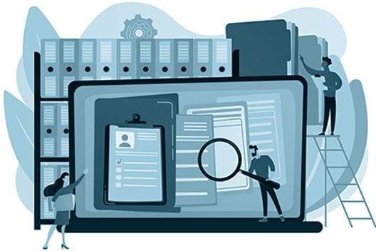 Grafische Darstellung dokumentenzentrierter Prozesse in einem DMS oder ECM, wie Microsoft 365.